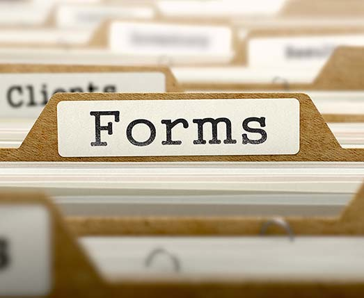 file tab labeled forms